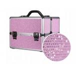 Kohver roosa, kristallidega kosmeetika maniküüri ja muu jaoks